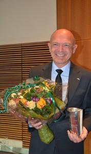 Formand Franz Vinther fra Danske Flyvere modtager Ellehammer Prisen 2017. Foto: Preben Pathuel