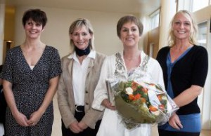 Fire Ellehammer-modtagere. Fra venstre ses Line Bonde, Susanne Lastein, Gurli Magnussen og Kathrine Elmer. Foto: Bjarne Lüthcke