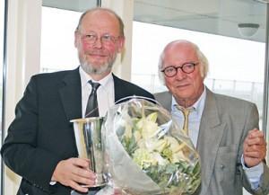 Lufthavnschef i Billund Jørgen Krab Jørgensen og formanden for Flyvejournalisterne Ejvind Olesen